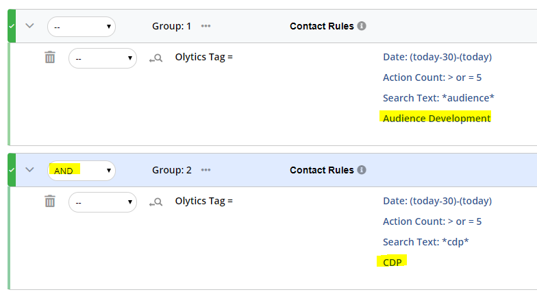 Groups with And for Tag Searching